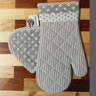 Grey Stripe & Hearts and Dots Set of 2 Oven Mitten & Pot Holder