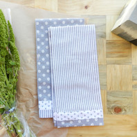 Grey Stripe & Dots Tea Towel Set of 2
