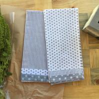 Grey Stripe & Heart Set of 2 Tea Towel