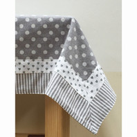 Grey Stripe, Dots & Hearts Double Border Table Cloth