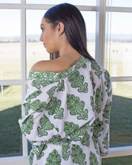 Amelie Green in White Gown Hand Block Print