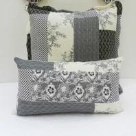 Patchwork Long Cushion Cover Black/Cream Reversible