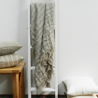 Hand Loom Linen Throw with White Stripes