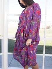 Bird Print Purple Kimono