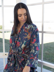 Bird Print Indigo Blue Kimono (SOLD OUT, PRE-ORDER OPEN)