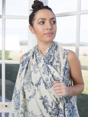 Pack of 2 Toile Blue Print Wrap/Scarf