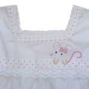 Pretty Applique Mouse White Nighty Pack of 4