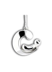 Parent and Child Pendant - Palladium - Charm Pendant