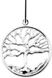 Family Tree Pendant - 14K White Gold - Large