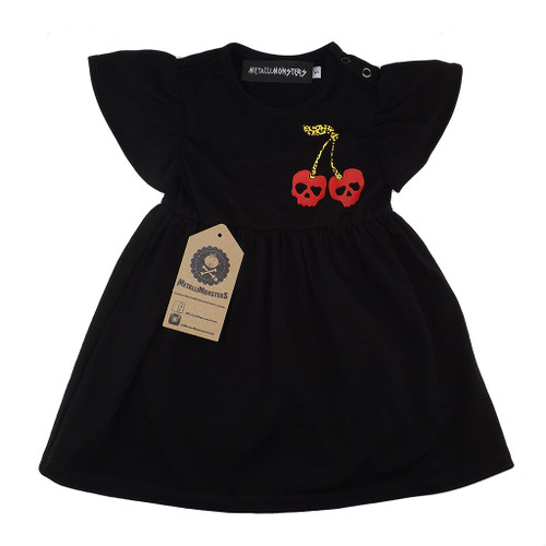 Cherry skull dress black