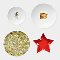 Marina Abramović, Set of Four Mismatched Dinner Plates (Limited Edition), 2014
