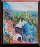 New Hope Pennsylvania Impressionist Landscape Painting Oil Signed F.I.C.  Framed