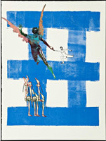 NANCY SPERO, Airborne from Exit 8, Mixed Media: Silkscreen with collage on Somerset velvet paper (Signed, Dated, NumberedO