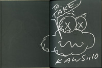 KAWS, Cloud Drawing 2010, Unique Drawing in Silver Sharpie Held in Hardback Monograph (Hand Signed/Dated/Inscribed with Dedication)