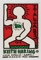 KEITH HARING Italia 83, Lucio Amelio Gallery, Napoli, signed and inscribed to Andy Warhol's last boyfriend 1983,  Silkscreen poster, hand signed with Haring's trademark and inscribed (unframed)