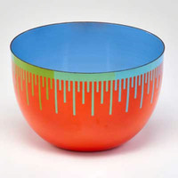 RICHARD ANUSZKIEWICZ, Op Art Bowl for Hirshhorn Museum 1976, Glazed Enamel on Metal Bowl (Signature Fired in Plate)