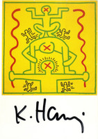 KEITH HARING, Hand Signed Card (from the Estate of UACC President Cordelia Platt) 1988,  Hand signed postcard