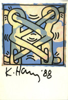 KEITH HARING Hand Signed Card (from the Estate of UACC President Cordelia Platt) 1988, Hand signed, dated and remarked postcard