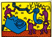 KEITH HARING Hand Signed PostCard (from the Estate of UACC President Cordelia Platt) 1988, Hand signed, dated and remarked postcard