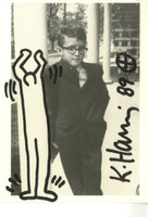 KEITH HARING, Self-portrait of the artist as a young man, on Tony Shafrazi Gallery invitation card (from the Estate of UACC President Cordelia Platt) 1989, Original drawing on marker, hand signed and dated with Haring's trademark flourish