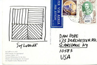 SOL LEWITT Original Drawing, Lines in Four Different directions ca. 1994, Unique ink drawing (hand signed) on postmarked postcard
