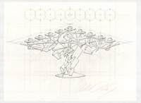 ALBERT PALEY Menorah 2013, Unique drawing, graphite on Aquarelle Arches, signed (unframed)