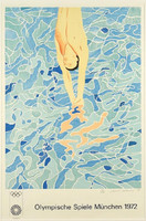 DAVID HOCKNEY Lithograph for 1972 Olympics 1970, Color Lithograph, signed, dated and numbered (Framed)