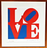 ROBERT INDIANA LOVE (signed and dedicated to John) 1996, Color screenprint on ANW Crestwood Museum Edition Paper, hand signed & dedicated (framed)