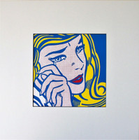 ROY LICHTENSTEIN AFTER ROY LICHTENSTEIN Crying Girl 1964 for Art Basel 1987, Color Offset Lithograph on glossy thin board, unframed with label from Art Basel