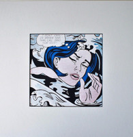 AFTER ROY LICHTENSTEIN ROY LICHTENSTEIN Drowning Girl (1963) for Art Basel 1987,  Color Offset Lithograph on glossy thin board, unframed with label from Art Basel
