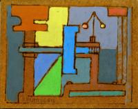 REMO FARRUGGIO Blue Machine ca. 1949, Original oil painting on masonite. Signed. Titled.