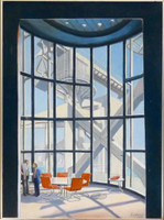 RICHARD HAAS Hong Kong Bank by Norman Foster 1993, Acrylic on Canvas. Signed. Framed.