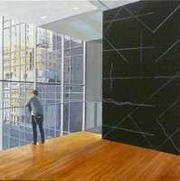 RICHARD HAAS MOMA with LeWitt (Museum of Modern Art with Sol Lewitt) 2015-2016, Acrylic on Canvas. Signed. Dated. Unframed.