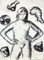 DIETER HACKER Mon Dieu 9 1983, Charcoal on Paper drawing. Signed. Dated. Framed.