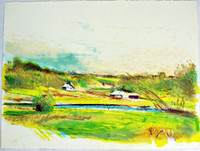 WOLF KAHN Flood Plain Farm in Color 1985, Lithograph. Signed, numbered & dated.  Unframed.