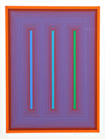 RICHARD ANUSZKIEWICZ Sequential IX 1972, Silkscreen on 4-Ply Studio Bristol Paper. Pencil signed, dated and numbered. Framed in plexiglass