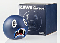 KAWS Cat Teeth Bank (Navy Blue) 2007, Limited edition of only 400. Painted Cast Vinyl; in original box.