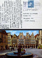 "CARL ANDRE Letter from Dusseldorf: ...""very pleasant to visit Dorothee and Konrad..."" 1979, Ink letter on postmarked (franked) postcard"