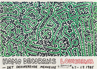 KEITH HARING Homo Decorans (Hand Signed) 1985, Offset Lithograph Poster. Hand Signed.