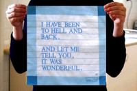 LOUISE BOURGEOIS I HAVE BEEN TO HELL AND BACK HANDKERCHIEF, Embroidery on 100% Cotton Handkerchief. In original envelope