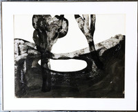 MARY FRANK Untitled drawing 1965, Pencil and Ink Wash on Paper. Signed. Dated. Framed.