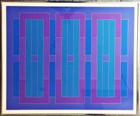 PETER STROUD Blue C 1971, Silkscreen. Signed. Numbered. Framed.