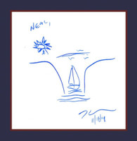 """JEFF KOONS Original signed, dated and inscribed drawing 2009, Unique drawing done in blue marker on the first front end page of Koons iconic monograph """"Hulk Elvis"""". Hand signed, dated and inscribed """"To Neal."""""""