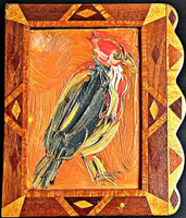 HUNT SLONEM Untitled (Bird) Signed and Inscribed to art critic and writer 1997, Acrylic on Wood with Handmade Artist Frame. Signed. Inscribed.