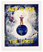 JONATHAN BOROFSKY Art is for the Spirit 1989, 31 Color Silkscreen. Hand Signed and numbered from the edition of only 50. Framed with label verso.