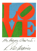 ROBERT INDIANA Rare Vintage Love Card (Hand Signed and Inscribed) 1979, Vintage LOVE postcard. Hand signed and dedicated by Robert Indiana. Unframed.