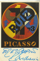 ROBERT INDIANA Picasso Card (Hand Signed and Inscribed) 1979, Vintage Picasso postcard. Hand signed and dedicated by Robert Indiana. Unframed.
