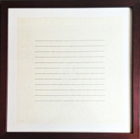 AGNES MARTIN On A Clear Day 1973, Silkscreen in Grey and White on Rice Paper.  Hand Signed and Annotated Printer's Proof (P.P.) in Pencil. Framed.
