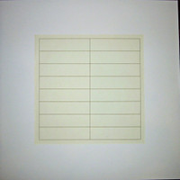 AGNES MARTIN Untitled 1973, Silkscreen on grey and white rice paper. Pencil signed and numbered. Unframed.