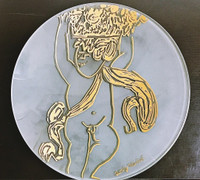 ANDY WARHOL Gold Angel Charger Plate ca. 1991, Frosted Glass with Gold and Black Color. Plate Signed.